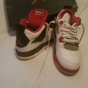 Red White and Black Jordan 4s